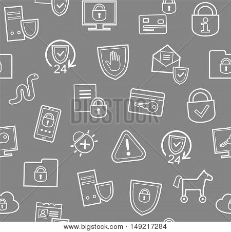 Information protection, seamless pattern, gray, flat.Information technology, data security system. Vector grey background with white contour drawings.