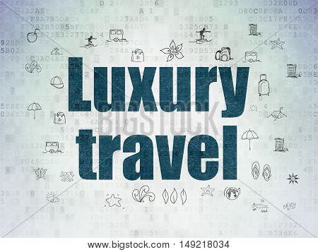 Travel concept: Painted blue text Luxury Travel on Digital Data Paper background with  Hand Drawn Vacation Icons