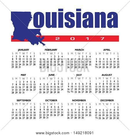A 2017 creative Louisiana calendar with the state outline