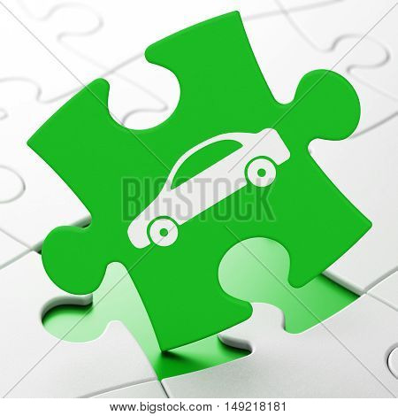 Tourism concept: Car on Green puzzle pieces background, 3D rendering