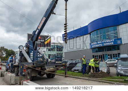 Balashikha RUSSIA - September 27 2016: Installation of lighting poles