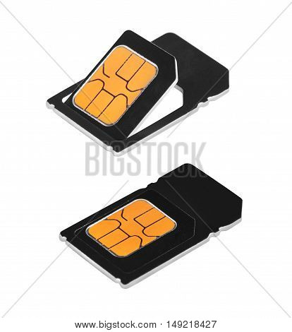 Sim cards isolated on a white background