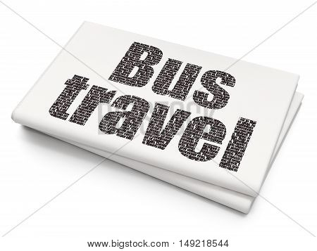 Tourism concept: Pixelated black text Bus Travel on Blank Newspaper background, 3D rendering