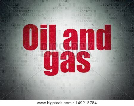 Industry concept: Painted red word Oil and Gas on Digital Data Paper background