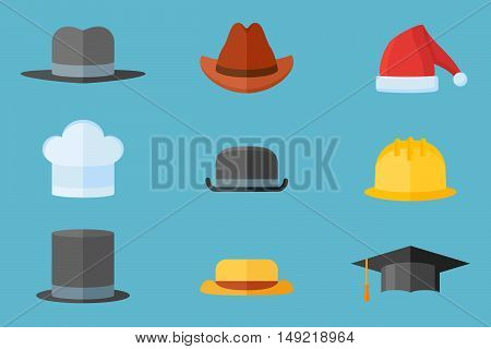 Set of hats isolated on blue background. Safety helmet, bowler, top hat, graduation cap, chef, gangster, tourist, cowboy and Santa Claus hats. Flat style vector illustration.