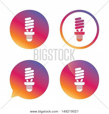 Fluorescent lamp bulb sign icon. Energy saving. Idea and success symbol. Gradient buttons with flat icon. Speech bubble sign. Vector