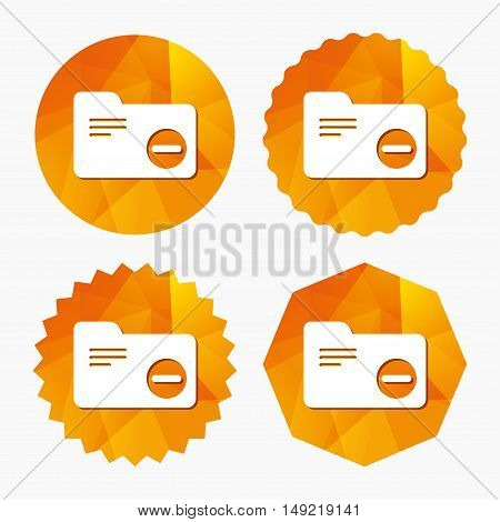 Delete document folder sign. Accounting binder symbol. Bookkeeping management. Triangular low poly buttons with flat icon. Vector