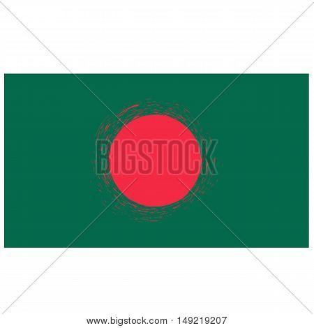 National Grunge Flag of Bangladesh Isolated on White Background.