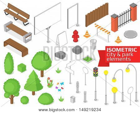 Isometric city and park elements set. Vector illustration