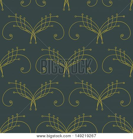 Elegant green and yellow seamless pattern with thin line decoration. Damask pattern. Seamless abstract background. Infinity geometric pattern. Vector illustration.
