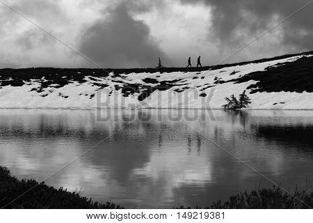Mystical cloud snow mountain beautiful elfin lakes