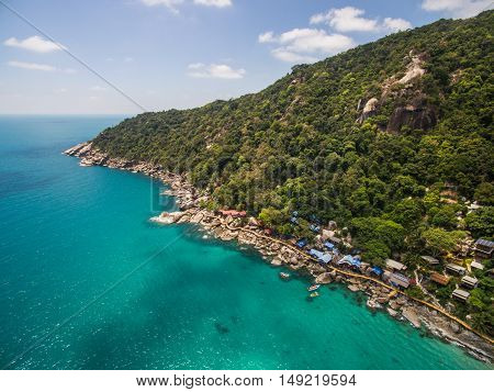 Aerial view of stone rock in Thailand Koh Phangan