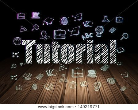 Education concept: Glowing text Tutorial,  Hand Drawn Education Icons in grunge dark room with Wooden Floor, black background