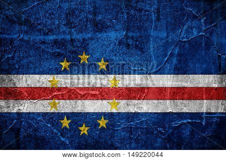 Flag of Cape Verde overlaid with grunge texture