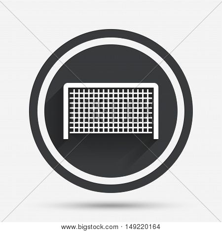 Football gate sign icon. Soccer Sport goalkeeper symbol. Circle flat button with shadow and border. Vector