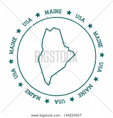 Maine Vector Map. Retro Vintage Insignia With Us State Map. Distressed Visa Stamp With Maine Text Wr