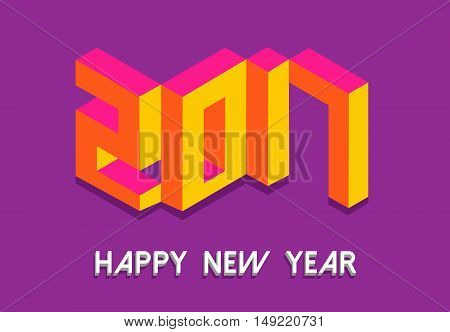 Isometric Happy New Year 2017 In Colorful 3D