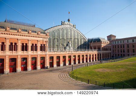 Sunny Facade Of Madrid Atocha Train Station