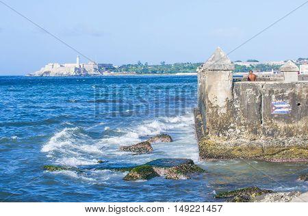 HAVANA CUBA - JULY 18 : Seascape of Havana Cuba on July 18 2016. The historic center of Havana is UNESCO World Heritage Site since 1982.