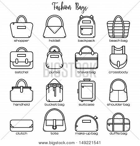 Set of black and white fashion bag line icons, vector illustration isolated on white background. Set of 16 thin line fashion bag icons with legends