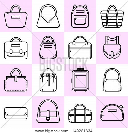 Set of black and white fashion bag line icons, vector illustration isolated on white background. Set of 16 thin line fashion bag icons on colored squares