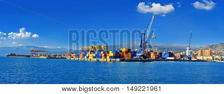 Panoramic view of cargo terminal Port of Genoa, Italy
