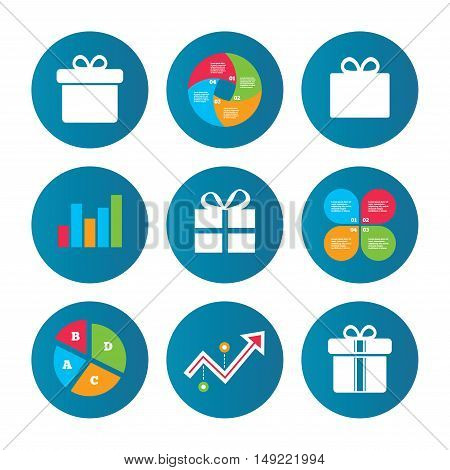 Business pie chart. Growth curve. Presentation buttons. Gift box sign icons. Present with bow and ribbons sign symbols. Data analysis. Vector