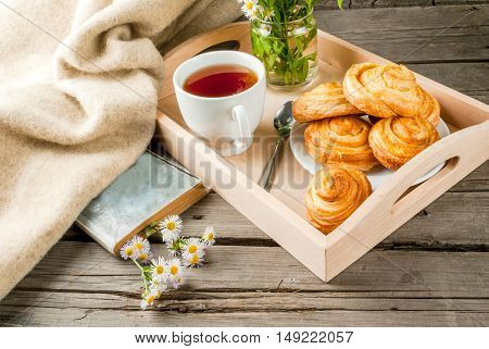 Cozy breakfast in spring or early autumn tea, freshly baked scones and bouquet of field's daisy and fascinating book.