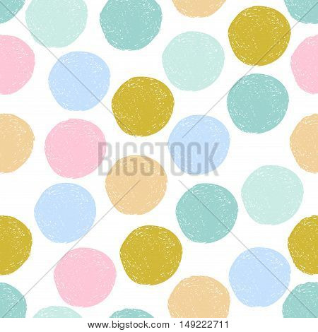 Colorful cute yellow, pink, blue random grunge polka dot seamless pattern. Sketch circle on white background. Abstract geometric seamless. Vector illustration.