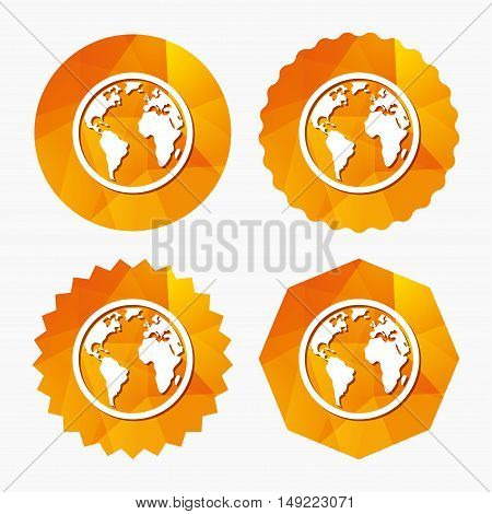 Globe sign icon. World map geography symbol. Triangular low poly buttons with flat icon. Vector