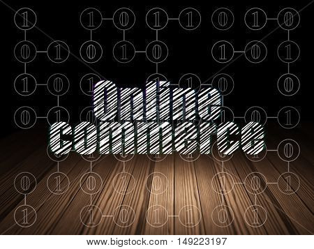 Finance concept: Glowing text Online Commerce in grunge dark room with Wooden Floor, black background with Scheme Of Binary Code