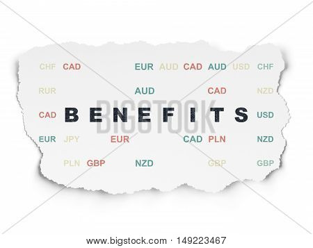 Finance concept: Painted black text Benefits on Torn Paper background with  Currency