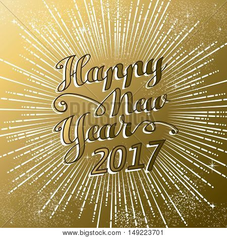 New Year 2017 Gold Firework Explosion Design
