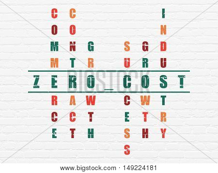 Finance concept: Painted green word Zero cost in solving Crossword Puzzle