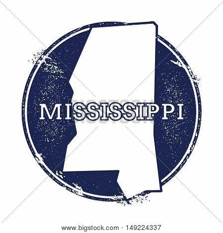Mississippi Vector Map. Grunge Rubber Stamp With The Name And Map Of Mississippi, Vector Illustratio