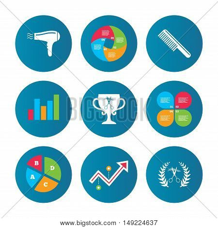 Business pie chart. Growth curve. Presentation buttons. Hairdresser icons. Scissors cut hair symbol. Comb hair with hairdryer symbol. Barbershop laurel wreath winner award. Data analysis. Vector