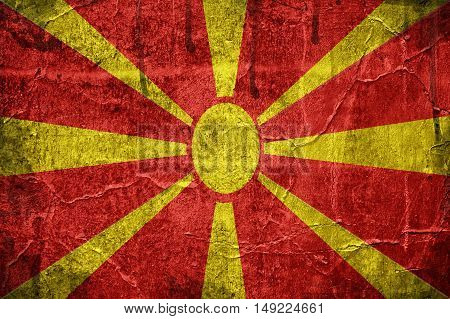Flag of Macedonia overlaid with grunge texture