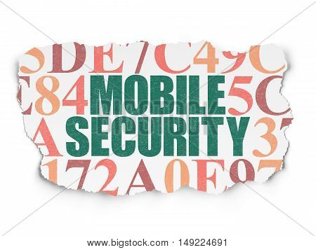 Security concept: Painted green text Mobile Security on Torn Paper background with  Hexadecimal Code