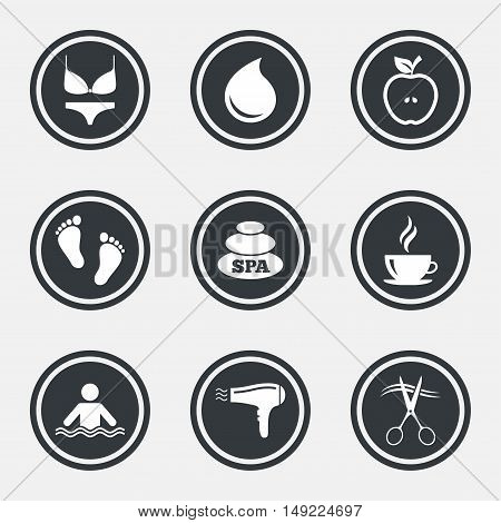 Spa, hairdressing icons. Swimming pool sign. Lingerie, scissors and hairdryer symbols. Circle flat buttons with icons and border. Vector