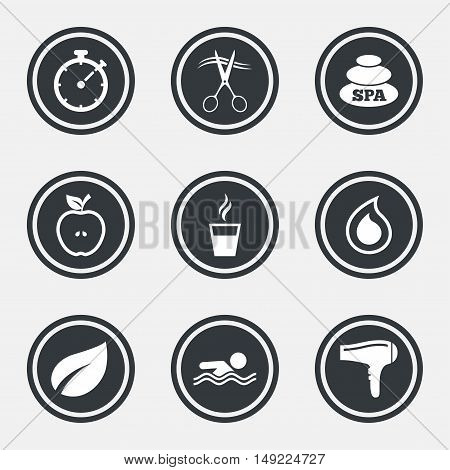 Spa, hairdressing icons. Swimming pool sign. Water drop, scissors and hairdryer symbols. Circle flat buttons with icons and border. Vector