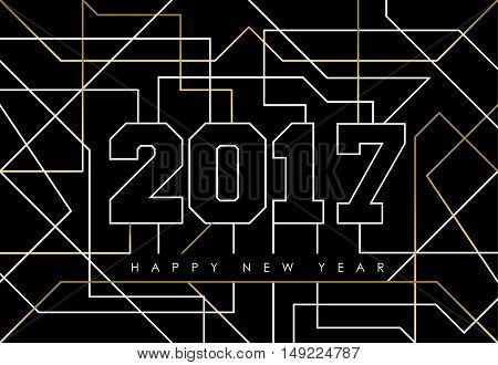 Happy New Year 2017 Gold Line Art Greeting Card