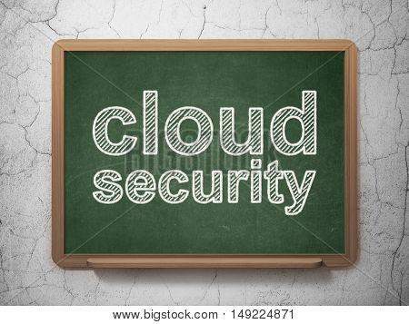 Safety concept: text Cloud Security on Green chalkboard on grunge wall background, 3D rendering