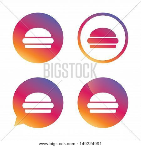 Hamburger sign icon. Fast food symbol. Junk food. Gradient buttons with flat icon. Speech bubble sign. Vector