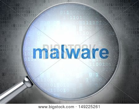 Security concept: magnifying optical glass with words Malware on digital background, 3D rendering