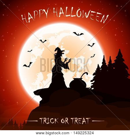 Halloween night with moon on sky background, witches, cauldron and old witch on the mountain, illustration.