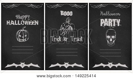 Halloween greeting vector cards. Vector illustration. Template for party card