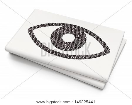 Privacy concept: Pixelated black Eye icon on Blank Newspaper background, 3D rendering