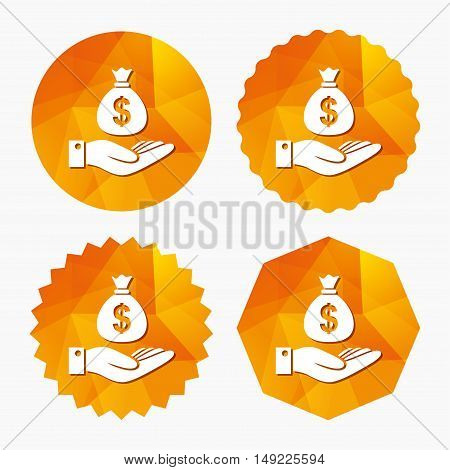 Dollar and hand sign icon. Palm holds money bag symbol. Triangular low poly buttons with flat icon. Vector