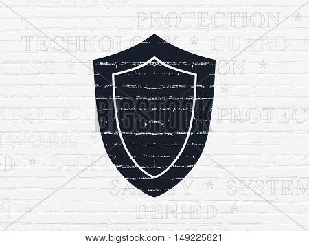 Privacy concept: Painted black Shield icon on White Brick wall background with  Tag Cloud