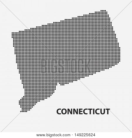 Dotted map of the State Connecticut. The form with black points on light background. Vector illustration.